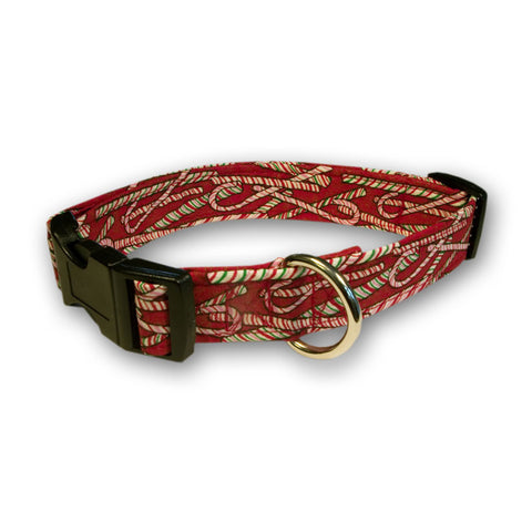 Elmo's Closet Peppermint Sticks Dog Collar