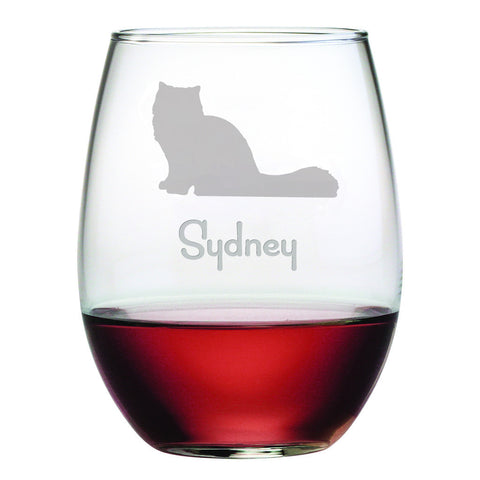 Personalized Cat Breed Stemless Wine Glasses (Set Of Four) - Persian Cat