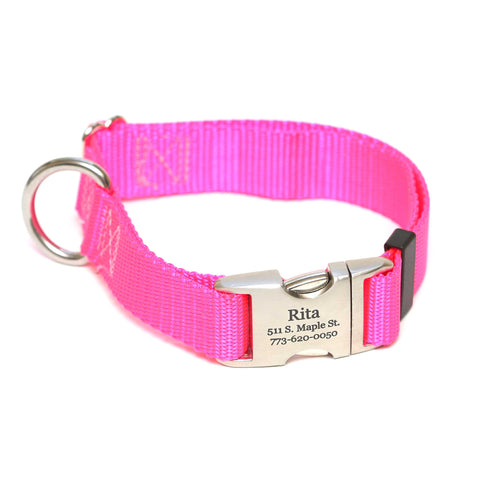 Rita Bean Engraved Buckle Personalized Dog Collar - Nylon Webbing (Neon Pink)