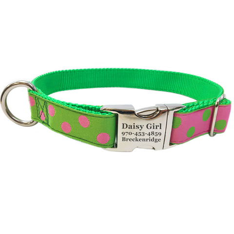 Rita Bean Engraved Buckle Personalized Dog Collar - Dots (Pink & Green)