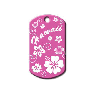 Pink Hawaii Flowers Dog Tag - Military Style