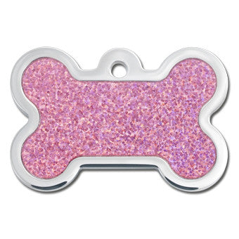 Pink Hologram Plated & Polished Raised Edge Dog Tag - Bone