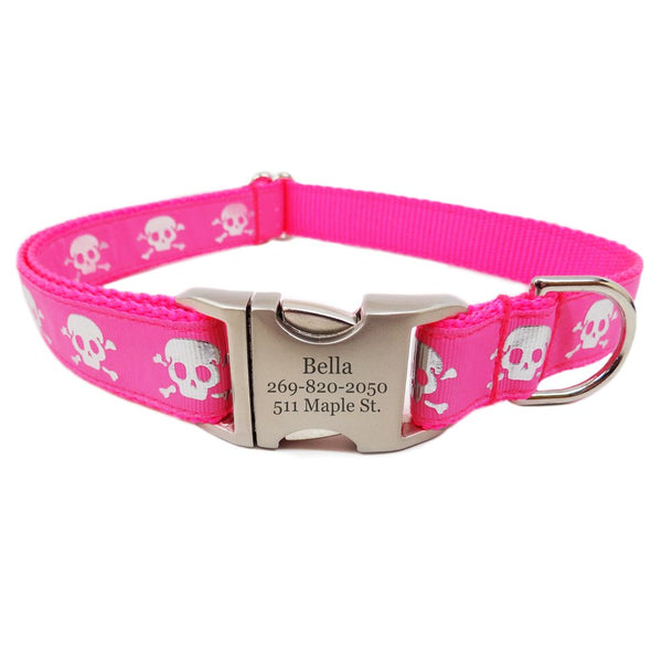 Rita Bean Engraved Buckle Personalized Dog Collar - Reflective Pink Skulls