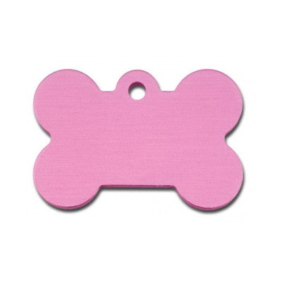 Bone Shaped Dog ID Tag - Pink Anodized Aluminum (Double Side Engraving)