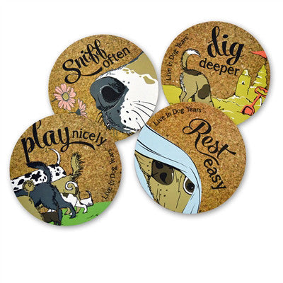 Dog Phrases Cork Coaster Set (Set Of Four) - Sniff, Play, Dig, Rest (Outlet Sale Item)