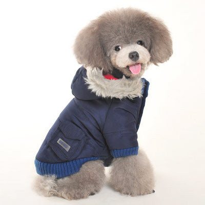 Pocket Parka Dog Coat - Navy Blue