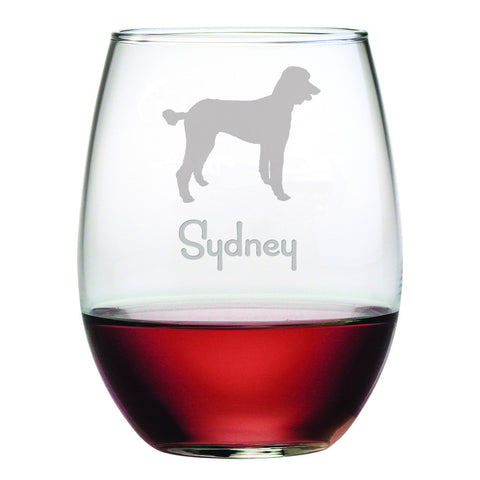 Personalized Dog Breed Stemless Wine Glasses (Set Of Four) - Poodle