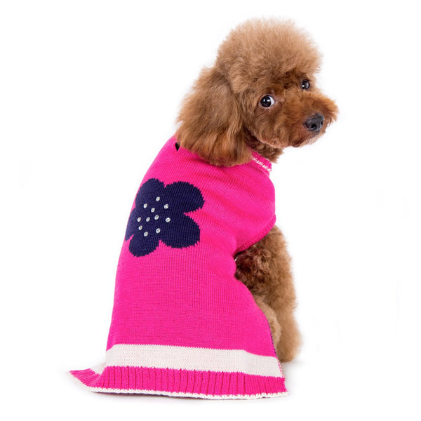 Pink Flower Dog Sweater Dress