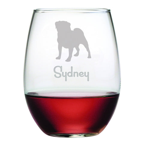 Personalized Dog Breed Stemless Wine Glasses (Set Of Four) - Pug