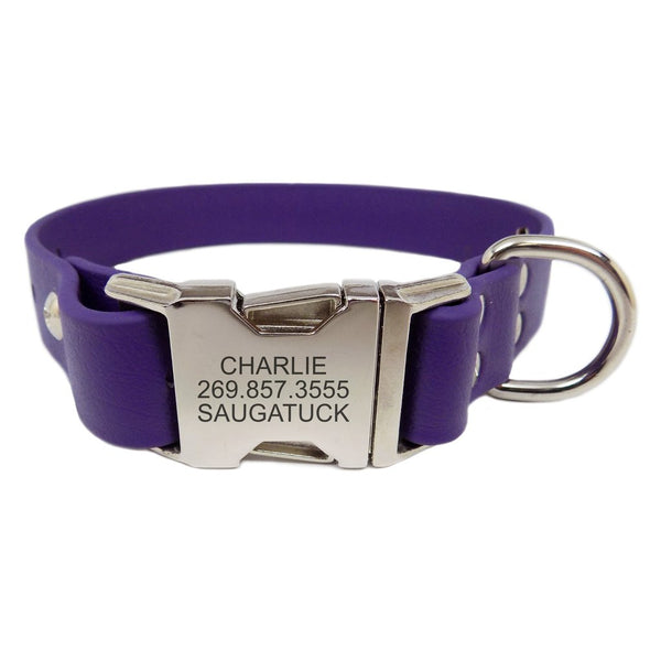 Rita Bean Waterproof Engraved Buckle Dog Collar - Purple