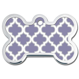 Purple Trellis Plated & Polished Raised Edge Dog Tag - Bone