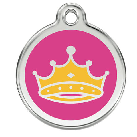 Red Dingo Stainless Steel & Enamel Queen Crown Dog ID Tag
