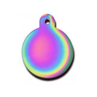 Rainbow Circle Dog Tag - Brass (Large) w/Double Side Engraving