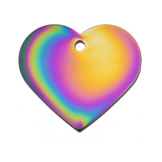 Rainbow Heart Dog Tag - Brass (Large) w/Double Side Engraving
