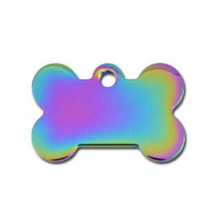 Rainbow Bone Dog Tag - Brass (Small) w/Double Side Engraving