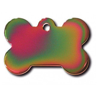 Rainbow Bone Dog Tag - Brass (Large) w/Double Side Engraving