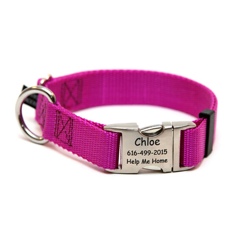 Rita Bean Engraved Buckle Personalized Dog Collar - Nylon Webbing (Raspberry)