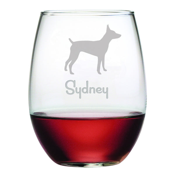 Personalized Dog Breed Stemless Wine Glasses (Set Of Four) - Rat Terrier