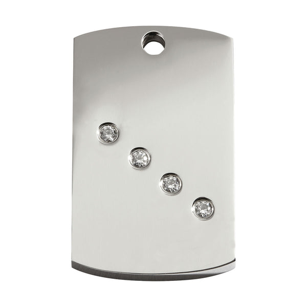 Red Dingo Diamante Stainless Steel Dog Tag with Swarovski Zirconia - Rectangle