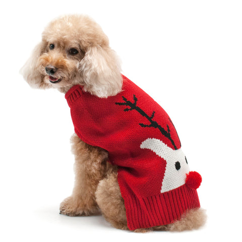 Red Nose Reindeer Dog Sweater - Outlet Sale Item