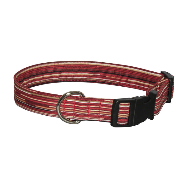 Elmo's Closet Reddish Stripe Dog Collar - Medium (Outlet Sale Item)