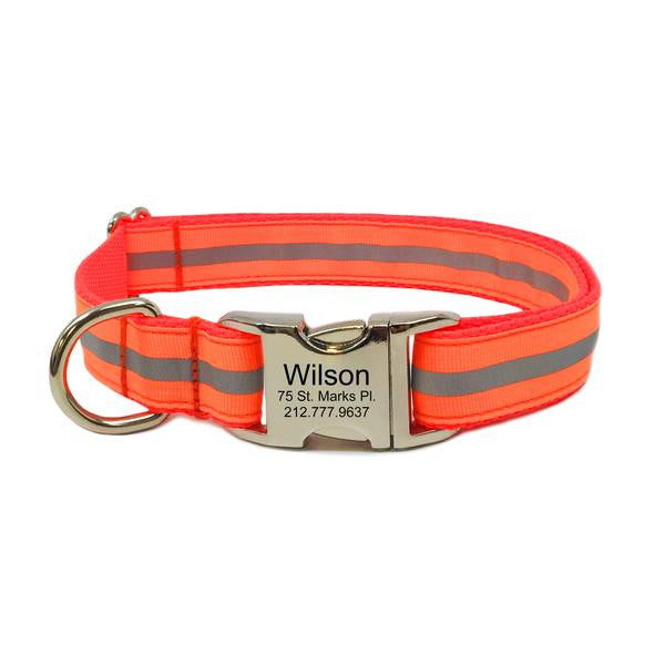 Rita Bean Engraved Buckle Personalized Dog Collar - Reflective Stripe (Neon Orange)