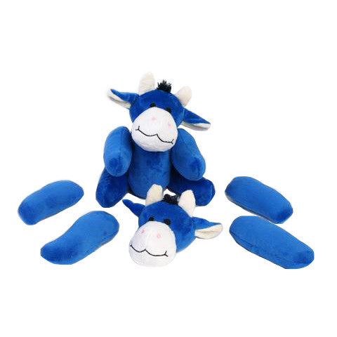 Rippy's Interactive Pull Apart Dog Toy - Blue Cow