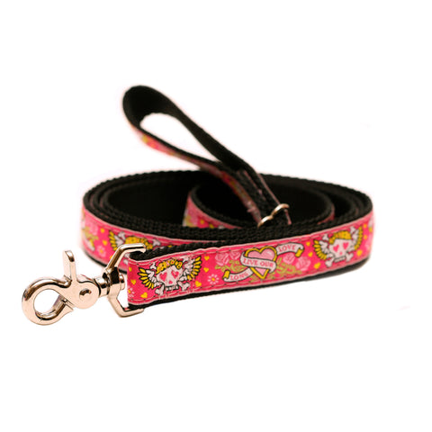 Rita Bean Dog Leash - Rock & Roll Hearts & Skulls (Pink)