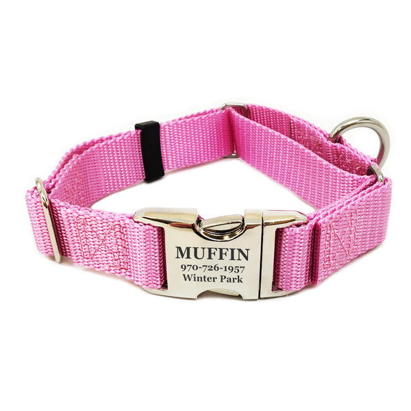 Rita Bean Engraved Buckle Personalized Martingale Style Dog Collar - Nylon Webbing (Rose Pink)