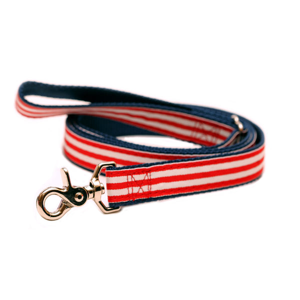 Rita Bean Dog Leash - Red, White & Bark