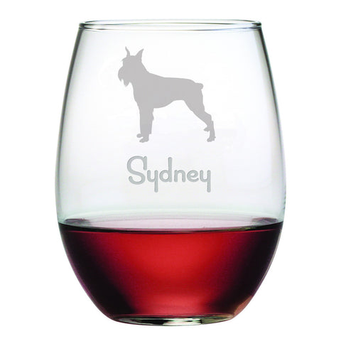 Personalized Dog Breed Stemless Wine Glasses (Set Of Four) - Schnauzer