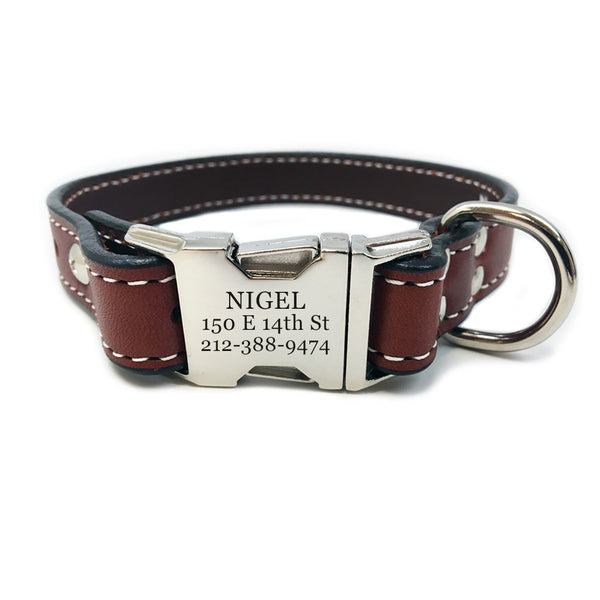 Rita Bean Heavy Duty Engraved Buckle Leather Dog Collar - Mahogany Brown