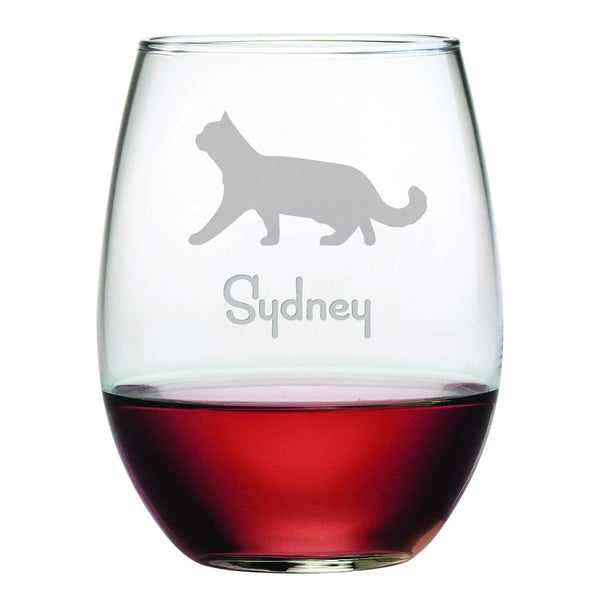 Personalized Cat Breed Stemless Wine Glasses (Set Of Four) - Shorthair Cat