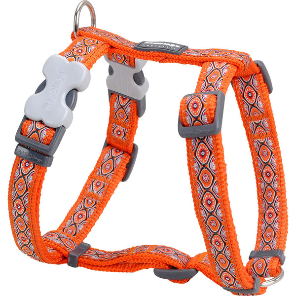 Red Dingo Designer Dog Harness - Snake Eyes (Orange)