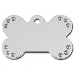 Chrome Bone Dog Tag With Black Stones - (Large) w/Double Side Engraving