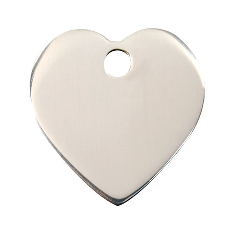 Red Dingo Flat Stainless Steel Dog Tag - Heart (Double Side Engraving)