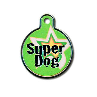 Super Dog Plated & Polished Raised Edge Brass Dog Tag - Circle