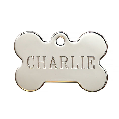 Bone Shaped Plated & Hand Polished Dog Tag - Chrome (Double Side Engraving)