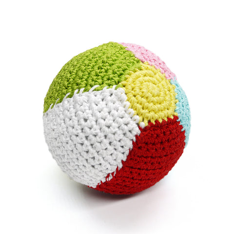 Beach Ball Crochet Dog Toy with Squeaker