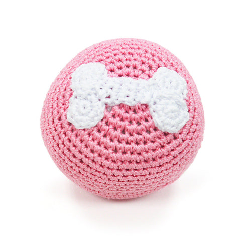 Pink Bone Ball Crochet Dog Toy with Squeaker