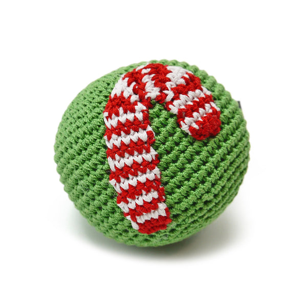 Candy Cane Ball Crochet Dog Toy with Squeaker