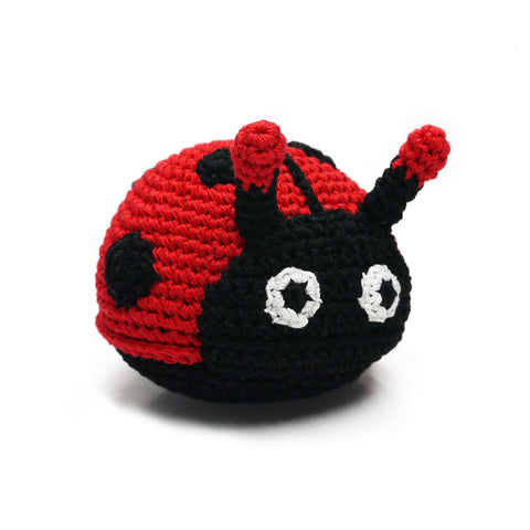 Lady Bug Crochet Dog Toy with Squeaker