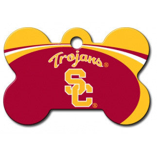 USC Trojans NCAA Custom Engraved Dog ID Tag - Bone