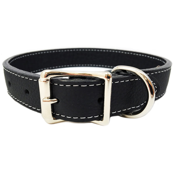 Italian Leather Dog Collar - Black