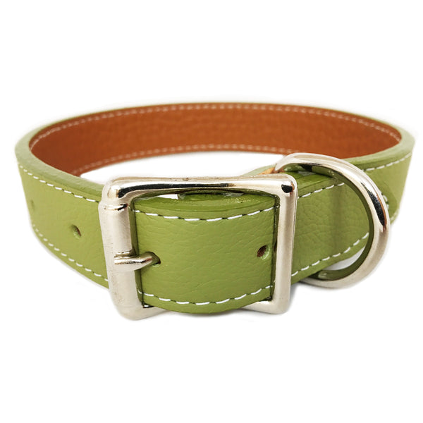 Green Italian Leather Dog Collar