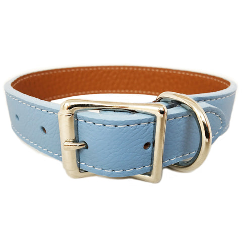 Italian Leather Dog Collar - Light Blue