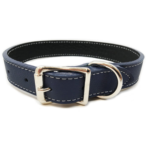 Italian Leather Dog Collar - Dark Blue