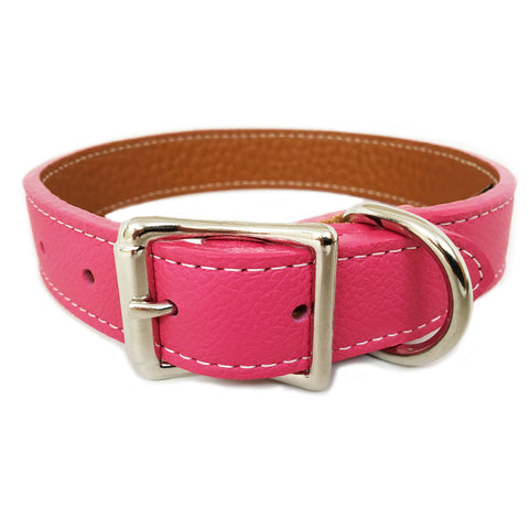 Italian Leather Dog Collar - Pink