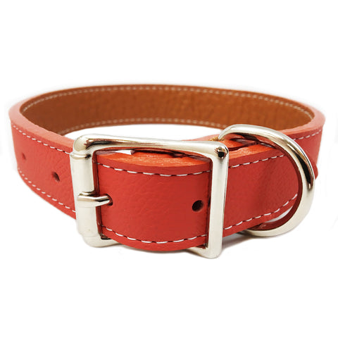 Italian Leather Dog Collar - Dark Orange