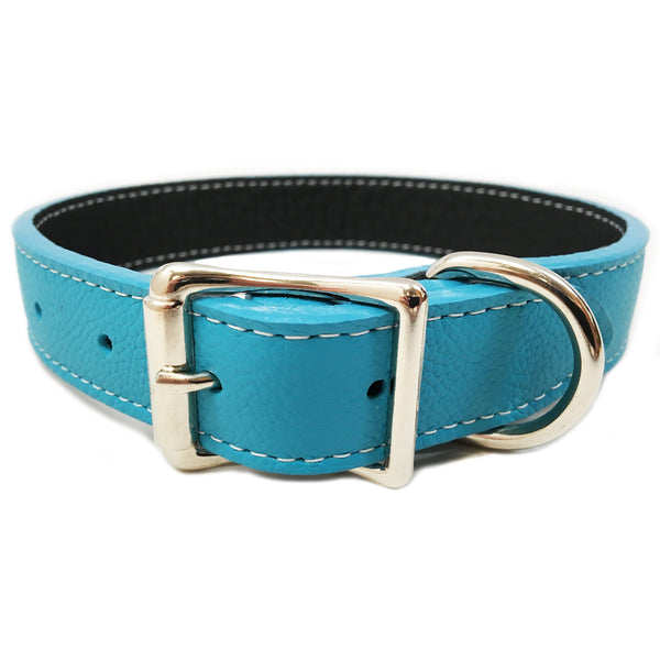 Italian Leather Dog Collar - Turquoise Blue